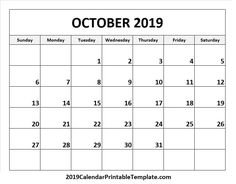 10 Best Free October 2019 Calendar Printable Templates Images