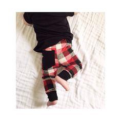 PRE ORDER* Buffalo Plaid Leggings with Back Pocket Accent // Gender Neutral Leggings // Baby + Toddler Leggings