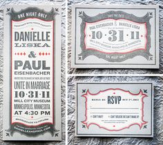 03/08/2012  Save the Date and RSVP cards for a wedding. The type, color accent, and other design elements work nicely together.