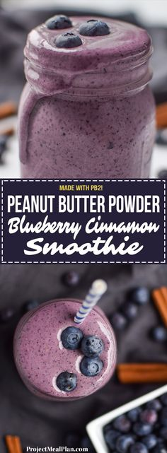 PB2 Peanut Butter Powder Blueberry Cinnamon Smoothie recipe - Creamy and delicious protein smoothie with blueberries, banana, greek yogurt, and PB2! - ProjectMealPlan.com