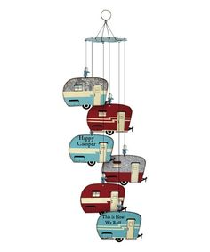 Happy Campers Retro Trailer Wind Chimes - 6 Weathered Galvanized Metal Signs for sale online Retro Campers, Vintage Campers, Vintage Trailers, Vintage Motorhome, Retro Rv, Happy Camper Trailer, Happy Campers, Camping Crafts, Go Camping