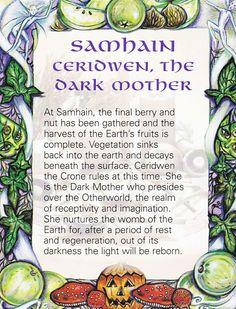 Samain: Samhain ~ Ceridwen, the Dark Mother. Magick, Witchcraft, Wiccan Spells, Samhain Halloween, Pagan Witch, Witches, Mabon, Sabbats, Beltane