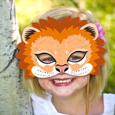 Lion Mask Printable Animal Masks Childrens Party PDF Halloween Costume Feline The Lion King Birthday Carnival Masquerade Adults Kids Mardi