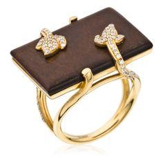 This looks like chocolate! Ring with Diamonds + Wood