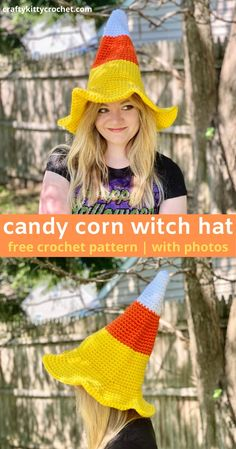 Make your Halloween a little sweeter with this Candy Corn Witch Hat! It's the perfect combination of two Halloween themes. Plus, it's easy to make and comfy to wear! This is the perfect DIY accessory for your costume this year - and it's adjustable so you can make it in kids and adult sizes! The pattern is easy to follow and the hat works up quickly due to the chunky yarn. This unique hat is sure to be a hit during trick or treating, parties, or scavenger hunts! #candycornwitch… Holiday Crochet, Crochet Gifts, Crochet Yarn, Autumn Crochet, Meme Costume, Diy Costumes, Costume Halloween, Halloween Themes, Diy Halloween