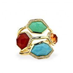 Ippolita: 4-Stone Ring in Riviera Sky with Diamonds
