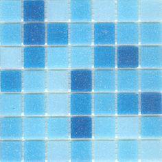 Glass mosaic tile blend for kitchen backsplash or bathroom tile Brio Cool Pool