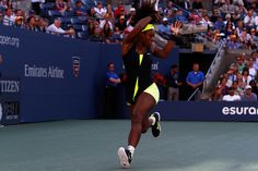 Serena Williams (USA)[4] hits a forehand against Victoria Azarenka (BLR)[1] during the Women's Final of the 2012 US Open. - Philip Hall/USTA