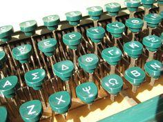 Greek typewriter in vintage teal/white keys Greek House, Greek Life, Turquoise, Teal, Greek Writing, Alphabet, Greek History, Greek Isles, Vintage Typewriters