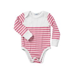 Hanna Andersson Nautical Stripe Bodysuit – Juice  100% organic cotton. Certified by Oeko-Tex Standard 100. Made in Peru. Available in sizes 0-6 mos., 6-9 mos., 9-18 mos., 18-24 mos. Please use size chart. (Item # HBS2)     $28.00