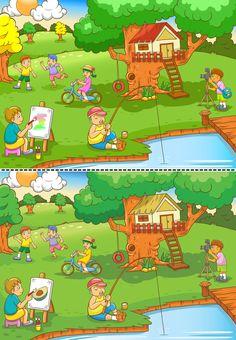Free Kindergarten Worksheets, Preschool Learning Activities, English Activities, Interactive Learning, Worksheets For Kids, Toddler Activities, Teaching Kids, Activities For Kids, Find The Difference Pictures