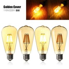 E27 ST64 8W Golden Cover Dimmable Edison Retro Vintage Filament COB LED Bulb Light Lamp AC110/220V  Worldwide delivery. Original best quality product for 70% of it's real price. Buying this product is extra profitable, because we have good production source. 1 day products dispatch from...