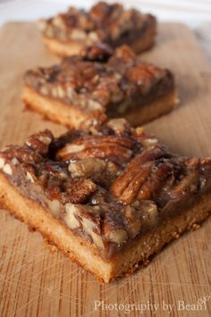 Pecan Pie Bars:: These are so good! Used butter in equal amounts to the coconut oil called for and also omitted the flax and used 1 egg instead. Everyone loved them. Super rich so even though they cook in an 8x8 they still feed a lot of people