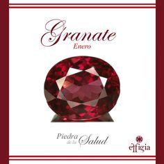 La piedra del mes es el Granate, una piedra que debido a su tonalidad rojiza se la ha atribuido cualidades favorables para la salud y debido a su belleza adorna joyas milenarias. #Effigia #Granate