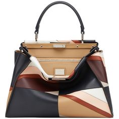Fendi Peekaboo Medium Patchwork Bag (131 440 UAH) ❤ liked on Polyvore featuring bags, handbags, tote bags, purses, accessories, bolsas, multi, handbag tote, fendi tote and purse tote