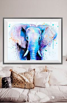 Blue Elephant Head watercolor painting print Elephant by SlaviART