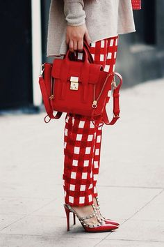 Pashli and Valentino red gingham pants