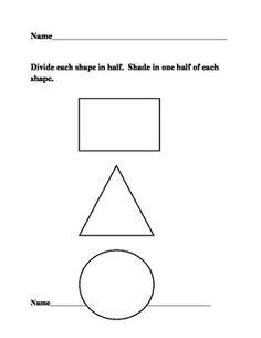 Fractions one whole & one-half review worksheet practice