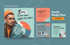 Social Media Post Template For Fashion With Cool Color And Abstract Shapes Social Media Branding, Social Media Design, Social Media Content, Social Media Graphics, Web Banner Design, Web Banners, Design Web, Layout Design, Design Campaign