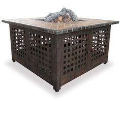 Square #firepit table with slate marble top