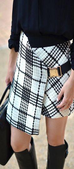 Buckled Mini Envelope Skirt