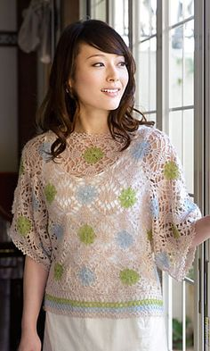 Pole Motif Pullover by Pierrot (Gosyo Co., Ltd) - Pattern is Japanese but fully charted using standard crochet symbols.
