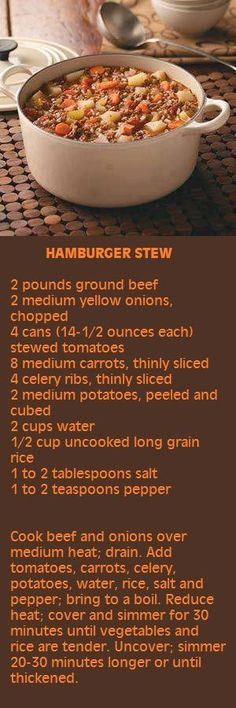 Hamburger Stew (lots of ways to adjust the recipe) Slow Cooker Recipes, Cooking Recipes, Whole30 Recipes, Crockpot Meals, Chili Recipes, Vegan Recipes, Hamburger Stew, Hamburger And Rice Recipes, Cake Recipes