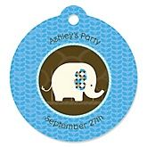 Blue Baby Elephant - Personalized Baby Shower Round Tags - 20 Count