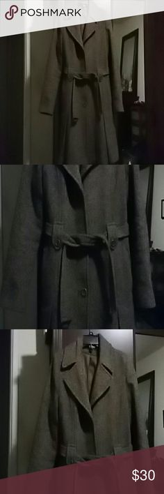 DKNY Wool Blend A Line Coat Brown wool blend coat with belted waist, side pockets and buttoned sleeves. Beautiful just a tad small these days.  Can use dry cleaning. DKNY Jackets & Coats