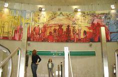 Passagens - Ação Cultural do Metrô, Sao Paulo, 2007 Acrilico sobre tela - 9 paineis de 280x215 cm Cultural, Summer Dresses, Painting, Contemporary Art, Art Production, Dinner, Artists, Paintings, Summer Sundresses