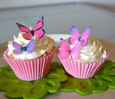 Edible Butterflies© - Small Assorted Pink and Purple Set of 24 - Cake and Cupcake Toppers, Decoration * Awesome deals : Baking decorations