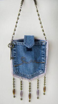 Denim designer purse, pocket bag with chain buckle. Boho Set - recycled jeans handbag - Denim designer purse, pocket bag with chain buckle. Small Handbags, Purses And Handbags, Luxury Handbags, Cheap Handbags, Cheap Purses, Popular Handbags, Cheap Bags, Luxury Purses, Handbags Online