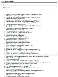 A good list of questions to get to know your characters better. Character Development.