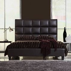 Queen Size Modern Bed with Faux Leather Headboard - http://www.furniturendecor.com/queen-size-modern-bed-with-faux-leather-headboard/