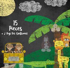 Chalkboard Zoo Animals Clipart Set - Jungle Clip Art - Safari Graphics - Chalk Lion - Okapi - Gorilla - Tiger - Giraffe - Elephant - Monkey