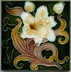 Art Nouveau Ceramic decorative wall tile 6 X 6 Inches #69