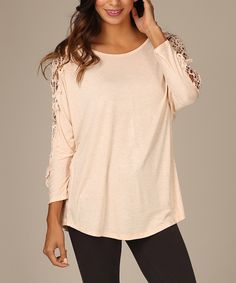 Look at this Peach Crochet-Sleeve Top on #zulily today!