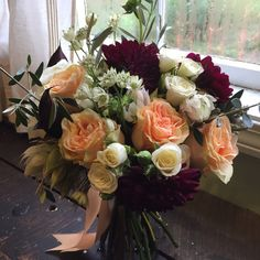 Burgundy and Peach Wedding Bouquet   Burgundy, Peach And White Wedding Flowers   Floral Artistry By Alison ...