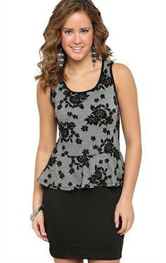 Deb Shops #Peplum #Dress with #Lace Jacquard Bodice $23.03
