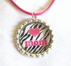 Love Mom Pendant - Pink Heart - Zebra Pattern - Bottlecap by kiwichris for $5.00
