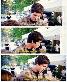 Logan Lerman playing around with little fan. It's nice to see people being sweet to little kids!