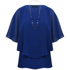M&Co Chiffon Layer Top With Necklace ($39) ❤ liked on Polyvore featuring tops, blue, double layer top, elbow length sleeve tops, elbow sleeve tops, batwing tops and blue chiffon top
