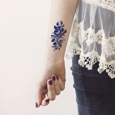 Blue Roses Vintage Flowers temporary tattoo Pattern by ArrowTattoo