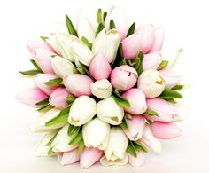 WEDDING BOUQUET Tulip Pink Wedding Bouquet Pink by AdoredOccasions