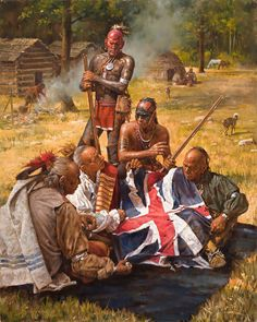 A contemporary painting by Robert Griffing of Eastern American woodland Indians with a captured battle flag. Native American Warrior, Native American History, American Indian Wars, American Indians, Indiana, Woodland Indians, Native American Paintings, American Frontier, Native Art