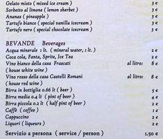 Carlo Menta, Trastevere menu