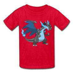 Kid's Funny Charizard Mega X T-shirts By Mjensen Medium
