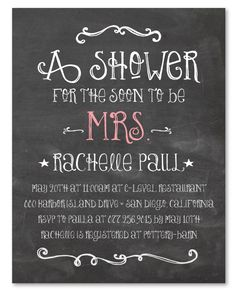 Bridal shower invitation chalkboard by sldesignteam on etsy 1800 chalk bridal shower invitations happy board filmwisefo