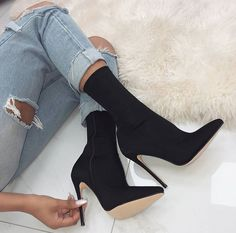 Women s Fashion High Heel boots Material Suede PU Sole material Rubber Platform 0 40 Heel high 4 53 Length 5 91 Heel style High heels boots Club sexy boots Color Black Size 35 36 37 38 39 40 Suitable for season Autumn Spring Summer High Heel Stiefel, Sexy Stiefel, Lace Up Heels, Pumps Heels, Stiletto Heels, Low Heels, Sexy Boots, Black High Heels, Black Stilettos