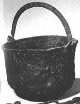 Iron pot, 22 cm wide, 14 cm tall (body) Bengstarvet, Dalarna, Sweden / 'Late Viking Age' The Vikings / Graham-Capbell & Kidd page 81 / number 41.